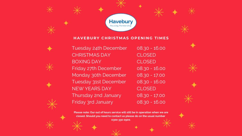 Havebury Christmas Opening Times